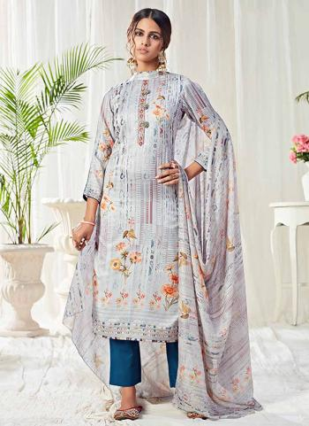 Grey Cotton Festival Wear Swarovski Work Straight Suit