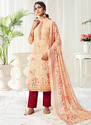 Peach Cotton Festival Wear Printed Work Straight Suit