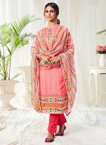 Pink Cotton Festival Wear Swarovski Work Straight Suit