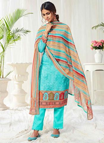 Sky Blue Cotton Festival Wear Swarovski Work Straight Suit