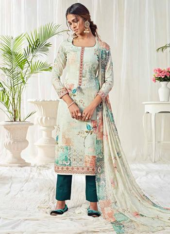 White Cotton Festival Wear Printed Work Straight Suit