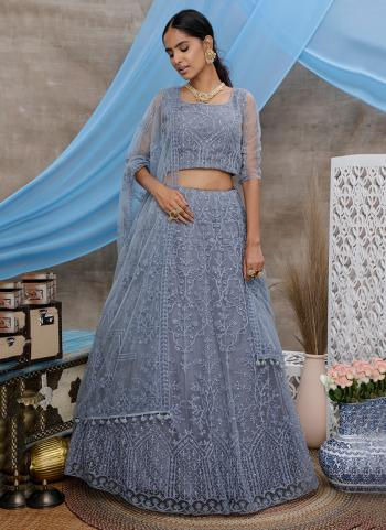 Grey Net Reception Wear Thread Work Lehenga Choli