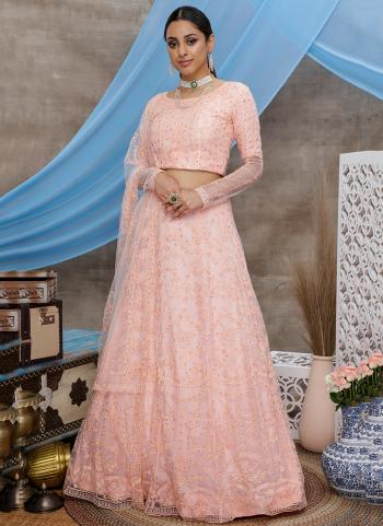 Peach Net Reception Wear Thread Work Lehenga Choli