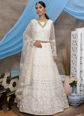White Net Reception Wear Thread Work Lehenga Choli