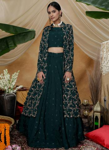 Green Chinnon Party Wear Sequins Work Lehenga Choli