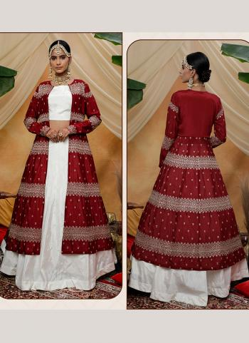 Maroon Chinnon Party Wear Sequins Work Lehenga Choli