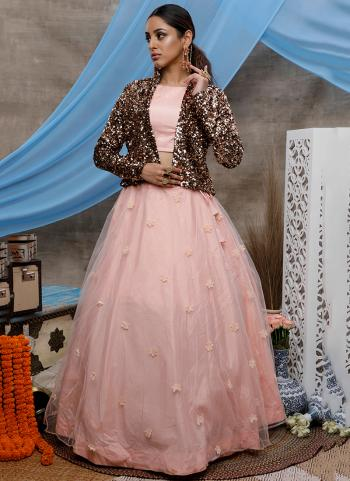 Peach Net Party Wear Sequins Work Lehenga Choli