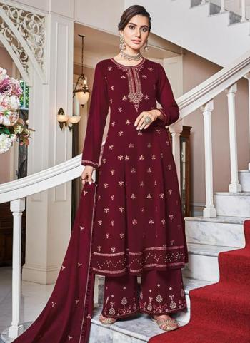 Maroon Faux Georgette Party Wear Embroidery Work Palazzo Suit