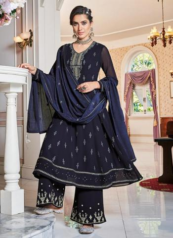 Navy Blue Faux Georgette Party Wear Embroidery Work Palazzo Suit