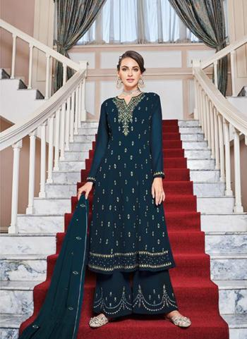 Rama Faux Georgette Party Wear Embroidery Work Palazzo Suit