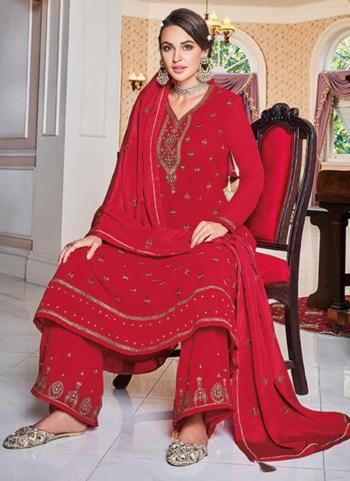 Red Faux Georgette Party Wear Embroidery Work Palazzo Suit