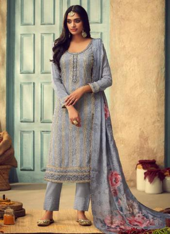 Blue Chinnon Festival Wear Embroidery Work Straight Suit