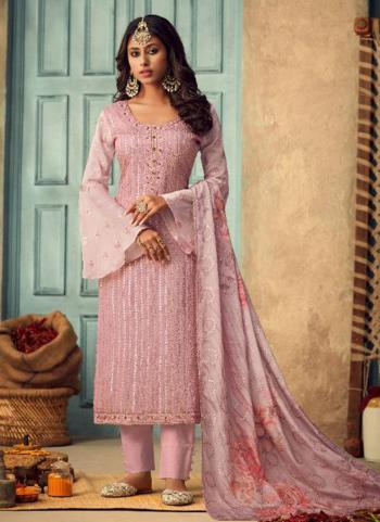 Pink Chinnon Festival Wear Embroidery Work Straight Suit