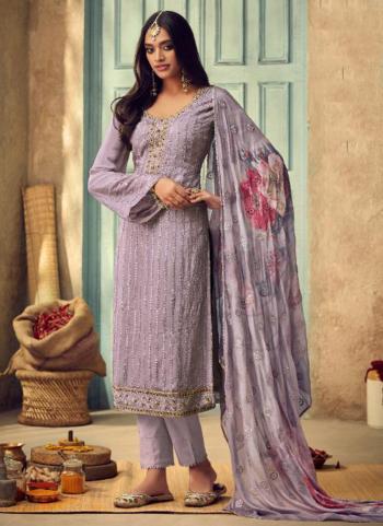 Purple Chinnon Festival Wear Embroidery Work Straight Suit