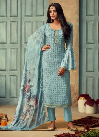 Sky Blue Chinnon Festival Wear Embroidery Work Straight Suit