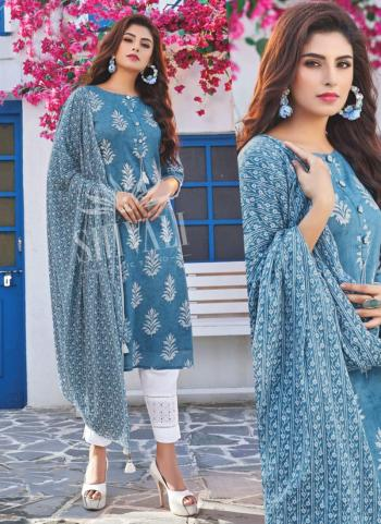 Blue Rayon Party Wear Embroidery Work Readymade Salwar Suit