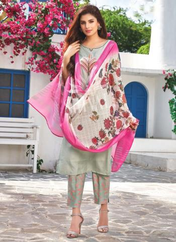 Grey Rayon Party Wear Embroidery Work Readymade Salwar Suit
