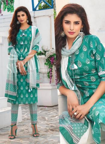 Teal Rayon Party Wear Embroidery Work Readymade Salwar Suit