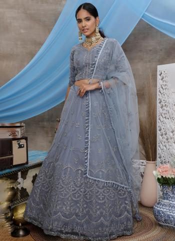 Grey Net Wedding Wear Thread Work Lehenga Choli