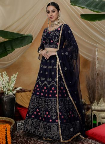 Navy Blue Net Wedding Wear Thread Work Lehenga Choli