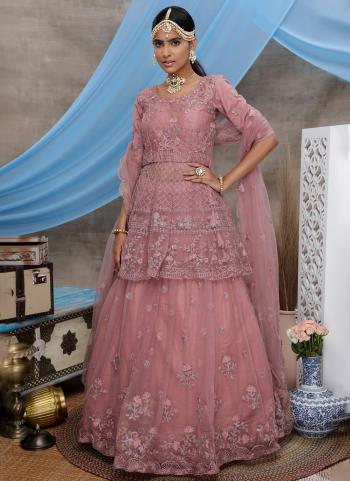 Peach Net Wedding Wear Thread Work Lehenga Choli