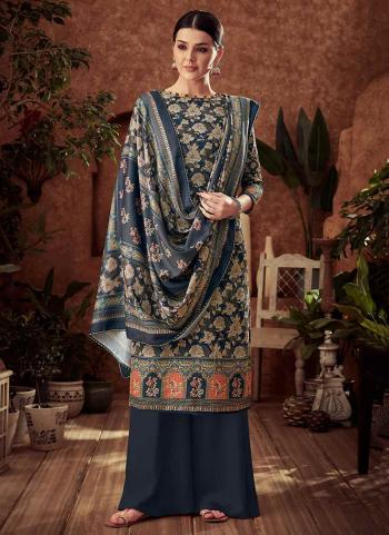 Blue Pashmina Daily Wear Printed Work Palazzo Suit