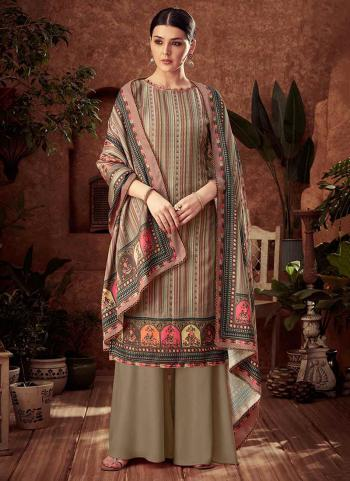 Brown Pashmina Daily Wear Printed Work Palazzo Suit