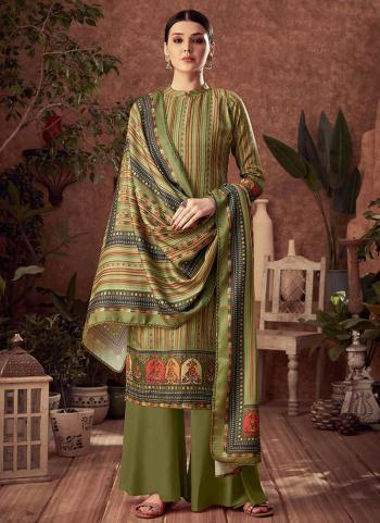 Dark Green Pashmina Daily Wear Printed Work Palazzo Suit