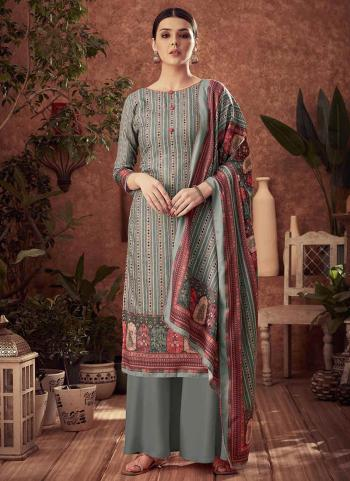 Grey Pashmina Daily Wear Printed Work Palazzo Suit