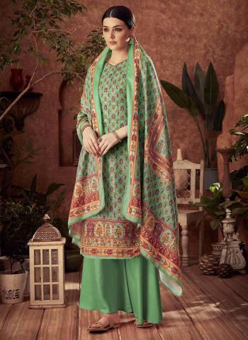 Light Green Pashmina Daily Wear Printed Work Palazzo Suit