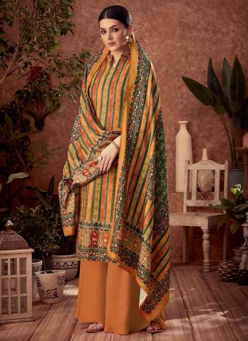 Mustard Pashmina Daily Wear Printed Work Palazzo Suit