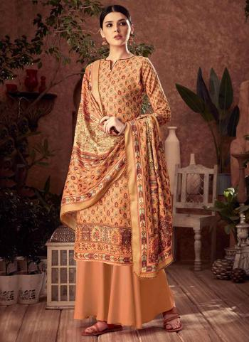 Peach Pashmina Daily Wear Printed Work Palazzo Suit