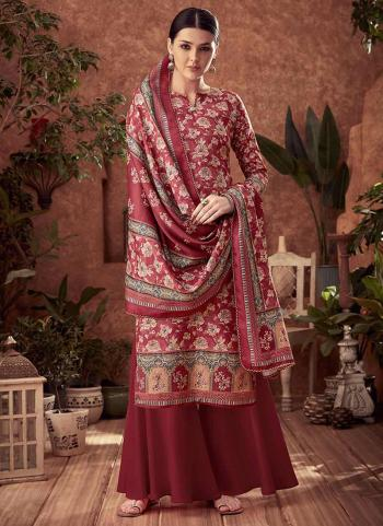 Violet Pashmina Daily Wear Printed Work Palazzo Suit