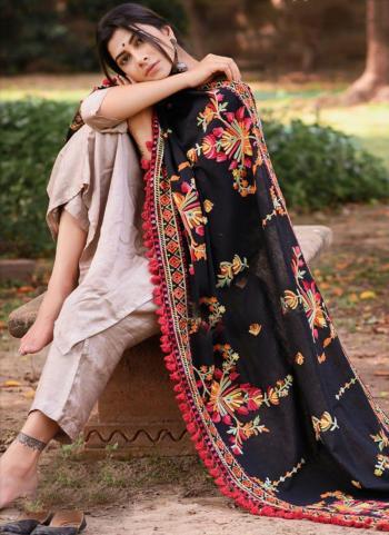 Black Khadi Festival Wear Embroidery Work Dupatta