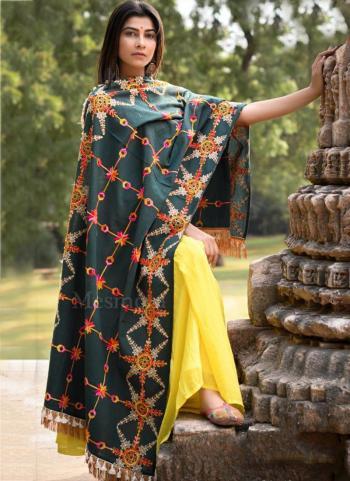 Green Khadi Festival Wear Embroidery Work Dupatta
