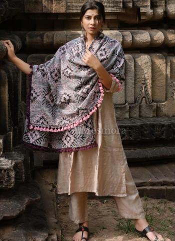 Grey Khadi Festival Wear Embroidery Work Dupatta