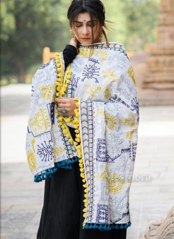 Off White Khadi Festival Wear Embroidery Work Dupatta