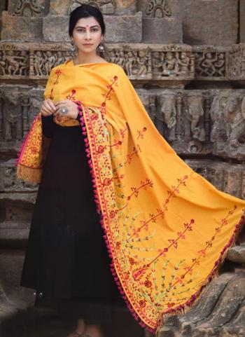 Orange Khadi Festival Wear Embroidery Work Dupatta