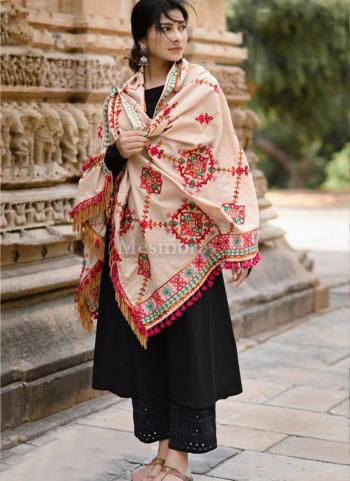 Peach Khadi Festival Wear Embroidery Work Dupatta