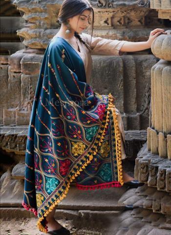 Rama Blue Khadi Festival Wear Embroidery Work Dupatta