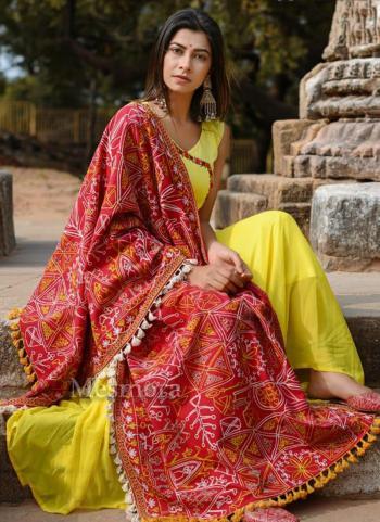 Red Khadi Festival Wear Embroidery Work Dupatta