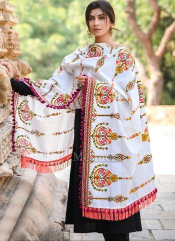 White Khadi Festival Wear Embroidery Work Dupatta