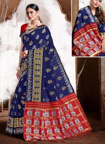 Blue Banarasi Silk Party Wear Weaving Saree