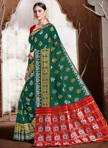 Green Banarasi Silk Party Wear Weaving Saree