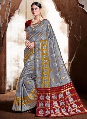 Grey Banarasi Silk Party Wear Weaving Saree