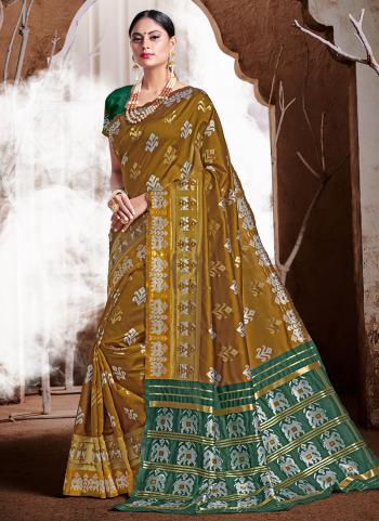 Olive Green Banarasi Silk Party Wear Weaving Saree