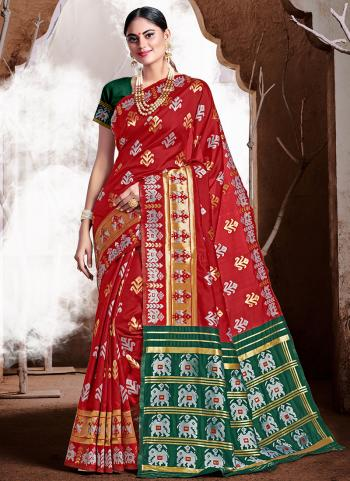 Red Banarasi Silk Party Wear Weaving Saree