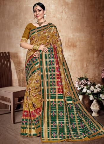 Golden Banarasi Silk Festival Wear Weaving Saree