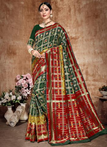 Green Banarasi Silk Festival Wear Weaving Saree