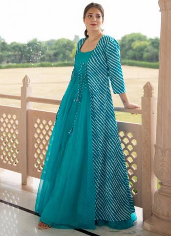 Sky Blue Georgette Party Wear Digital Printed Gown
